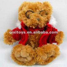 mais novo lindo urso de pelúcia brinquedo de pelúcia com óculos e casaco