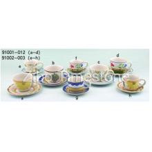 Керамических чашек с блюдцем, ручная роспись (91006-002)
