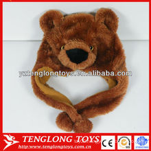 New design cute and lovely bear head plush animal hat