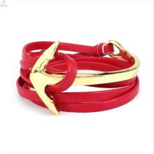 Couro eletrônico da arraia-lixa do bracelete da corrente vermelha da âncora com crânio