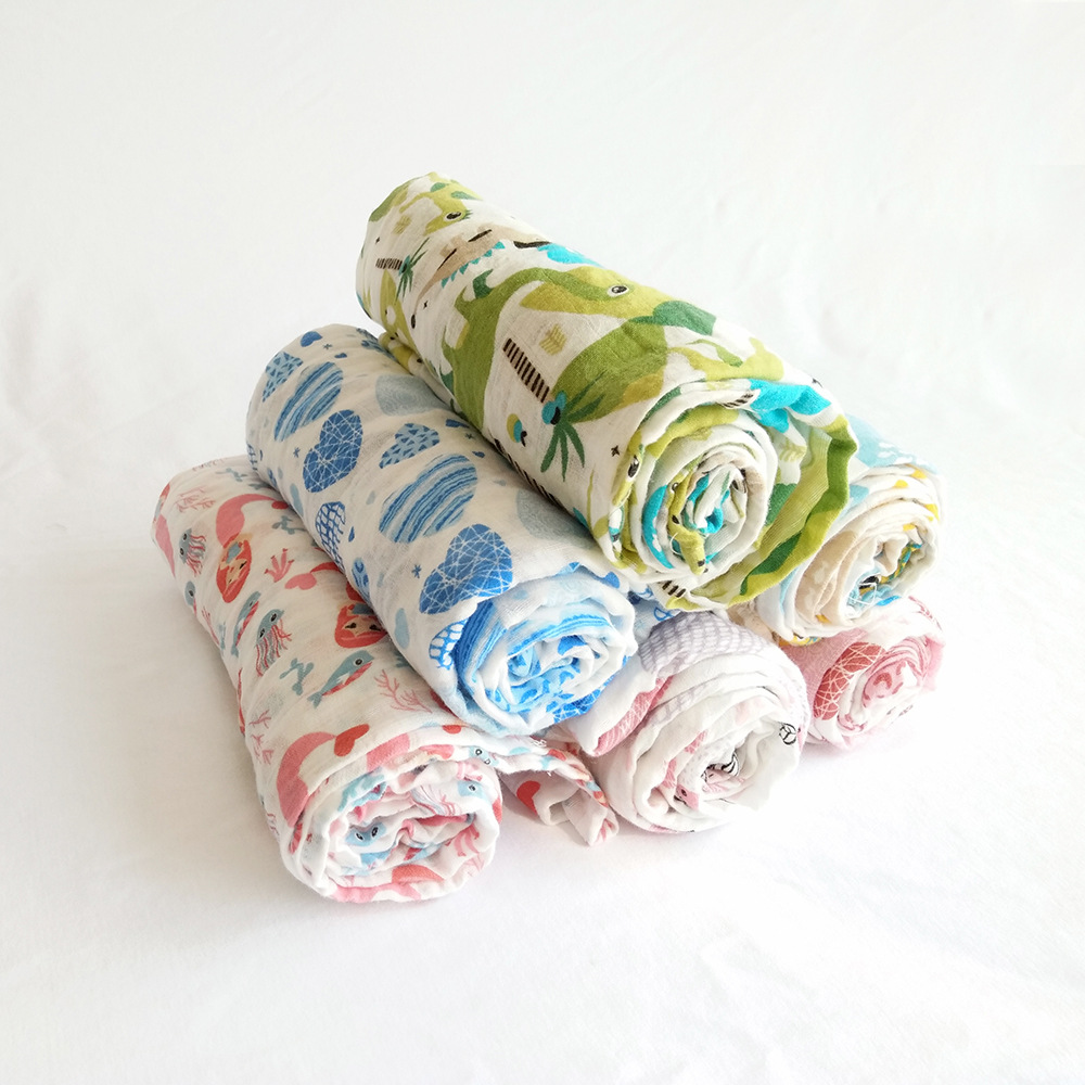 Soft Textile Big Size Baby Muslin Swaddle Blanket