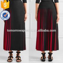 Mais recente projeto plissado preto e vermelho verão saia midi manufatura atacado moda feminina vestuário (ta0017s)