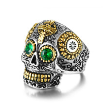 Stainless steel mens vintage crystal skull ring