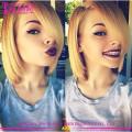 Blonde Couleur Sans Colle de Cheveux Humains Pleine Dentelle Bob Perruque Aliexpress Cheveux Brésiliens