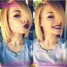 Blonde Color Glueless Human Hair Full Lace Bob Wig Aliexpress Brazilian Hair