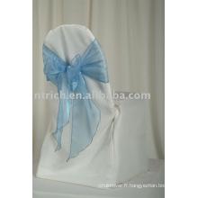 couverture de chaise de polyester 100 % avec la ceinture d'organza, couverture de chaise d'hôtel/Banquet