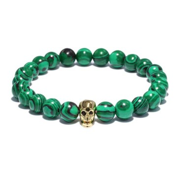 Gold Plated Skull Head Charms Beaded Malachite Bracelet