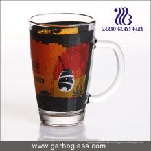 Copa de vidrio de la calcomanía 12oz con la manija (GB094212-QT-104)