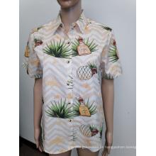 Camisa masculina de manga curta com estampa digital de algodão