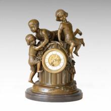 Uhr Statue 3 Kinder Bell Bronze Skulptur Tpc-036
