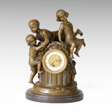 Reloj Estatua 3 Niños Bell Bronce Escultura Tpc-036