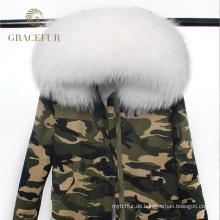 Hohe Qualität echte Waschbärpelz Kapuze Parka Jacke mit Waschbär Pelzfutter Winter