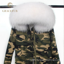 High Quality real raccoon fur hood parka jacket with raccoon fur lining winter