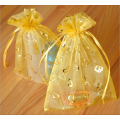 heart printed gold color mini organza bag
