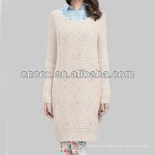 13STC5667 mais recente projeto ladies 'crewneck inverno branco vestido de camisola