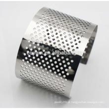 Moda senhora bracelete de aço inoxidável pesado punho pulseiras