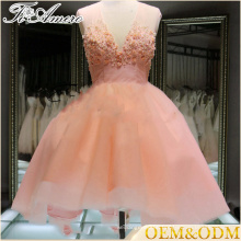 Custom wholesale tulle champagne pink sleeveless short luxury beaded lace evening dress