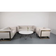 Wholesale Nordic Furniture White Fabric Brass Metal Frame Living Room One Seater Sofa