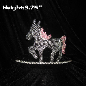 3.75inch Height Crystal Horse Pageant Crown