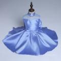 bleu perlé de haute classe fleur filles robe de mariage fête de Noël danse enfants nouvelle année enfants nouveaux styles de détail et de gros