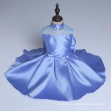 vestido de fiesta de las muchachas de flor de cuentas azules de alta calidad boda fiesta de Navidad bailando niños niños de año nuevo nuevos estilos al por menor y al por mayor