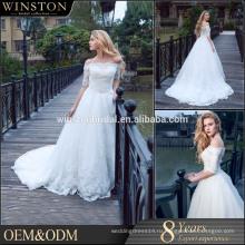 Новый роскошный высокое качество свадебное платье принцессы свадебные платья кружевными рукавами