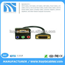 Black 30cm DVI-D Dual Link Splitter DVI-D Male to VGA & RGB Cable