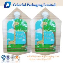 BPA Klar Standbodenbeutel 2 Reißverschluss Baby Lebensmittelqualität Flachboden-Flüssigkeitsbeutel mit Ausguss