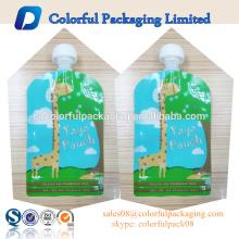BPA clear stand up bolsas con cremallera 2 bolsa de bolsa de bolsa de líquido de la parte inferior de grado alimenticio con pico