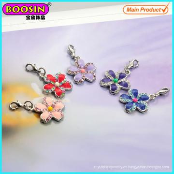 Colgantes encantadores de la flor del esmalte de la plata del metal de la fábrica de China
