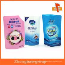 La venta caliente de China se levanta los bolsos plásticos claros impresos por encargo del lavadero del plástico sellado para el líquido