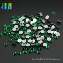 Wholesale All Size Crystal Flatback Non Hotfix 14 Cutting Face Korean Rhinestones , MS116 Emerald Color