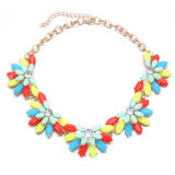 Hot selling luxurious necklace, made of colorful gemstone, flower-shaped