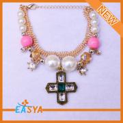Multi Chains Pearl Accessory Vintage Cross Pendant Bracelet