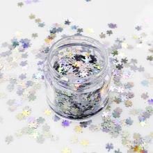 Étoiles multiples en forme de trèfle à quatre feuilles en argent scintillant de paillettes au laser PET