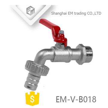 EM-V-B018 Garden Hose Joint Brass Bibcock With Red Steel Handle