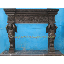 Limestone Fireplace with Stone Marble Mantel (QY-LS148)