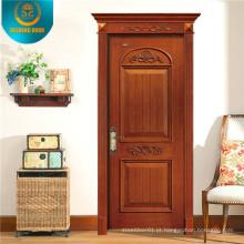 Porta de madeira da sala Interior com escultura simples (DS-8001)