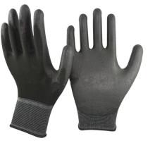 NMSAFETY перчатки нейлон ладони en388 черный нейлон сжатия PU безопасности рабочие перчатки