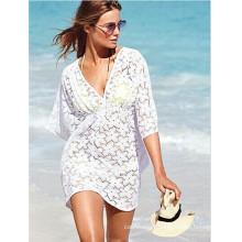 2017 White swimwear hollow lace crochet beach sexy bikini cover up