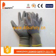 13 Gauge Gray Nylon Liner Gris guantes revestidos de poliuretano (DPU115)