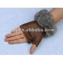 Forme guantes marrones sin dedos, medio-guantes para señoras