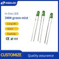 3mm green-hair-green fog strong long feet in-line led