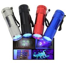 9LED Blacklight Schwarz Licht UV-Taschenlampe