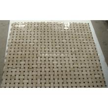 Beige Crema Marfil Basketwave Marble Mosaic Tile Stone Mosaic (HSM130)