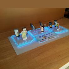 Soporte de pantalla de acrílico del teléfono móvil de encargo claro con la luz del LED
