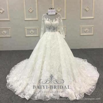 Плюс Размер свадебное платье 3D цветочные кружева аппликация с длинным рукавом мусульманских свадебное платье