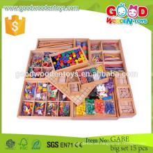 Nuevo producto juguetes de madera al por mayor OEM gabe grandes conjuntos de 15 niños niños educativos divertidos juegos de juguete