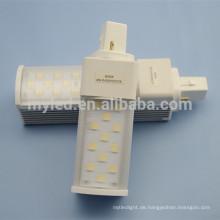 Aluminium Körper gute Dissipation Milky Abdeckung LED pl Glühbirne 2 Pin G24 / G23 / E27 8w