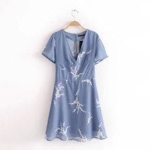 Модное повседневное платье с короткими рукавами и V-образным вырезом с принтом